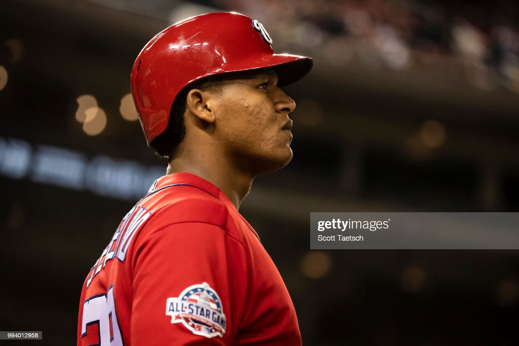 Pedro Severino #29 of the Washington Nationals looks on from the batters circle against the Miami Marlins during the eighth inning at Nationals Park on July 07, 2018 in Washington, DC.