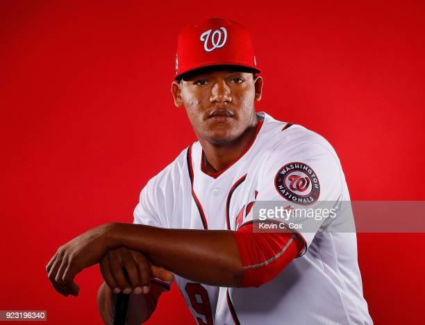Pedro Severino of the Washington Nationals poses for a photo during photo days at The Ballpark of the Palm Beaches on February 22 2018 in West Palm...