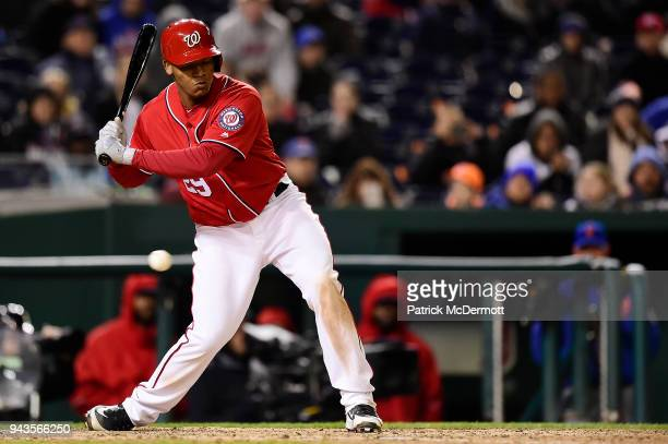 Pedro Severino of the Washington Nationals strikes out looking with the bases loaded in the bottom of the ninth inning against the New York Mets at...