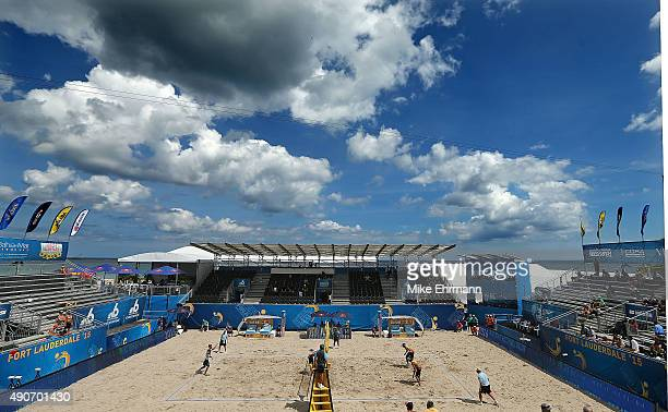 Pedro Solberg and Evandro Gonvlaves of Brazil play during a match against Pablo Nicolai and Daniele Lupo of Italy on September 30 2015 in Fort...