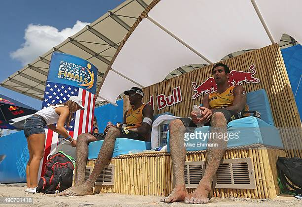 Pedro Solberg and Evandro Gonvlaves of Brazil talk during a break during a match against Pablo Nicolai and Daniele Lupo of Italy on September 30 2015...