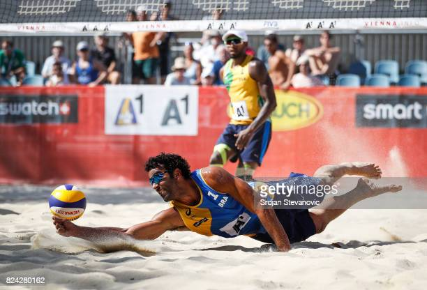 Pedro Solberg of Brazil save the ball during the Mens Pool H Main draw match between Brazil and South Africa on July 29 2017 in Vienna Austria