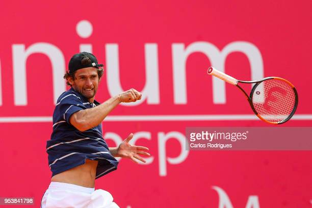 Pedro Sousa from Portugal in action during the match between Pedro Sousa from Portugal and Joao Sousa from Portugal for Millennium Estoril Open 2018...