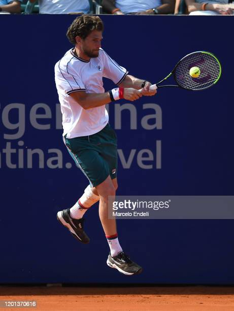 Pedro Sousa of Portugal hits a backhand during Men's Singles Final match against Casper Ruud of Norway as part of day 7 of ATP Buenos Aires Argentina...