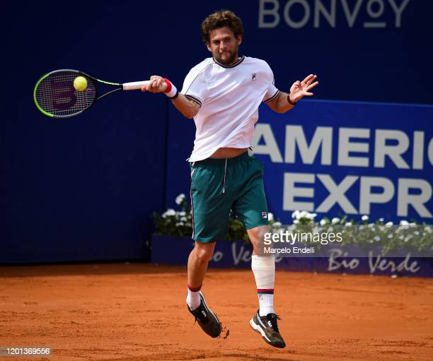 Pedro Sousa of Portugal hits a forehand during Men's Singles Final match against Casper Ruud of Norway as part of day 7 of ATP Buenos Aires Argentina...