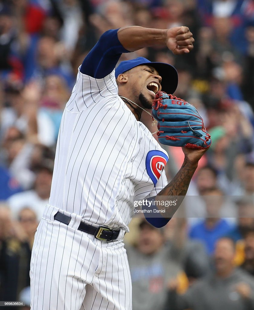 Pedro Strop #46 of the Chicago Cubs celebrates a win against the Pittsburgh Pirates at Wrigley Field on June 8, 2018 in Chicago, Illinois. The Cubs defeated the Pirates 3-1.