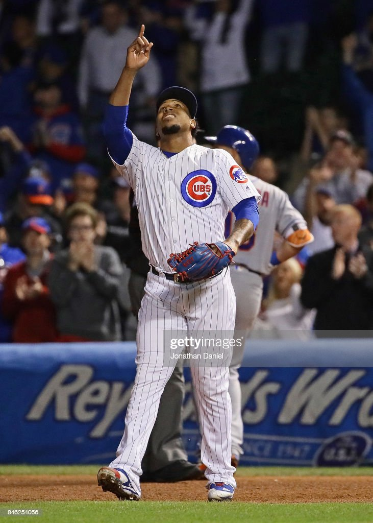 Pedro Strop #46 of the Chicago Cubs celebrates after getting the last out in the 9th inning against the New York Mets at Wrigley Field on September 12, 2017 in Chicago, Illinois. The Cubs defeated the Mets 8-3.