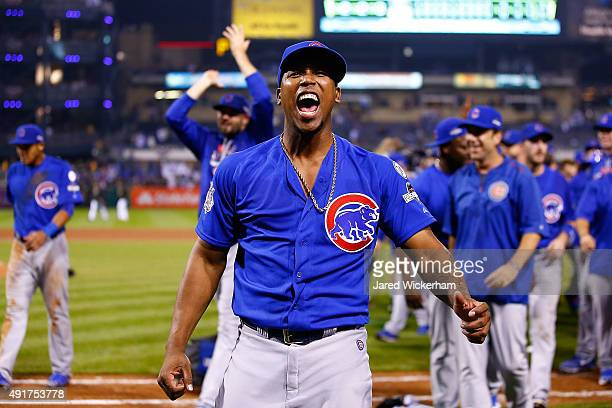 Pedro Strop of the Chicago Cubs celebrates defeating the Pittsburgh Pirates to win the National League Wild Card game at PNC Park on October 7 2015...