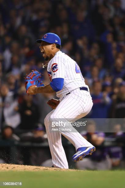 Pedro Strop of the Chicago Cubs celebrates during the National League Wild Card game against the Colorado Rockies at Wrigley Field on Tuesday October...