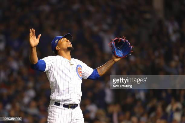 Pedro Strop of the Chicago Cubs celebrates during the National League Wild Card game against the Colorado Rockies at Wrigley Field on Tuesday,...