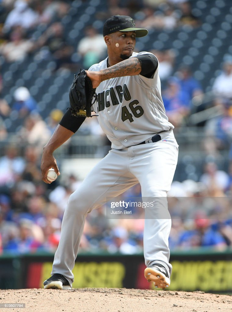 Pedro Strop #46 of the Chicago Cubs delivers a pitch during the game against the Pittsburgh Pirates at PNC Park on May 28, 2018 in Pittsburgh, Pennsylvania. MLB players across the league are wearing special uniforms to commemorate Memorial Day.
