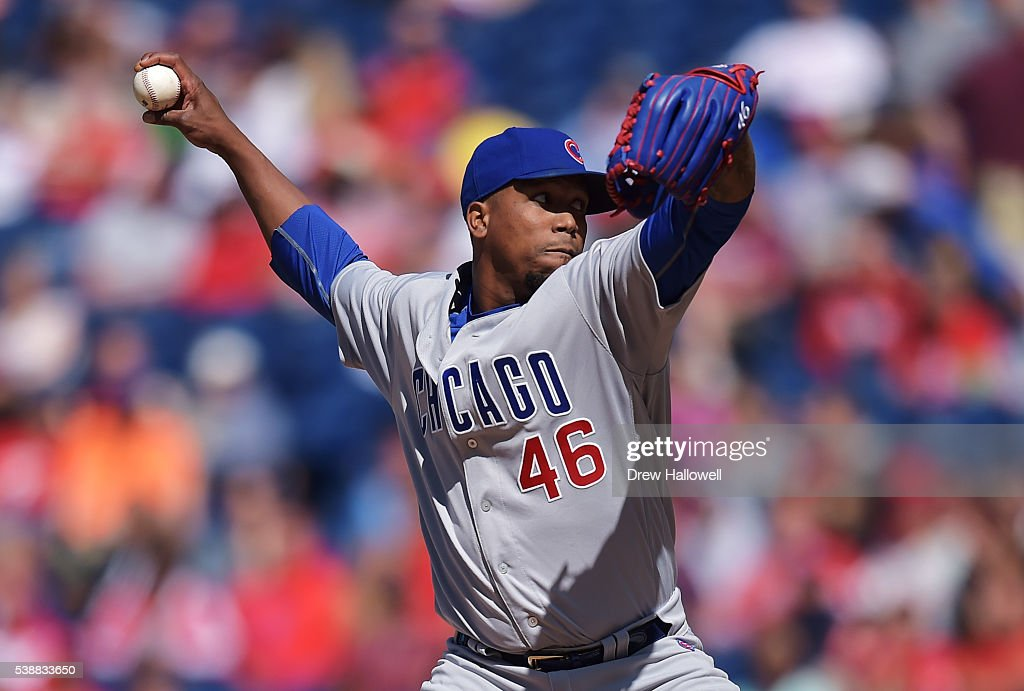 Pedro Strop #46 of the Chicago Cubs delivers a pitch in the eighth inning against the Philadelphia Phillies at Citizens Bank Park on June 8, 2016 in Philadelphia, Pennsylvania. The Cubs won 8-1.