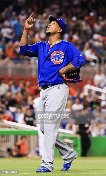 Pedro Strop of the Chicago Cubs gestures during the game against the Miami Marlins at Marlins Park on June 23 2016 in Miami Florida