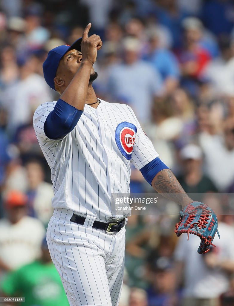 Pedro Strop #46 of the Chicago Cubs leaves the filed after pitching against the San Francisco Giants at Wrigley Field on May 25, 2018 in Chicago, Illinois. The Cubs defeated the Giants 6-2.