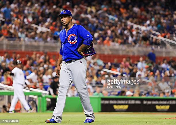 Pedro Strop of the Chicago Cubs looks on during the game against the Miami Marlins at Marlins Park on June 23 2016 in Miami Florida