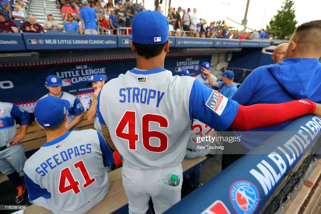 newest 99c9b 2e6ae Pedro Strop of the Chicago Cubs looks on from the dugout ...