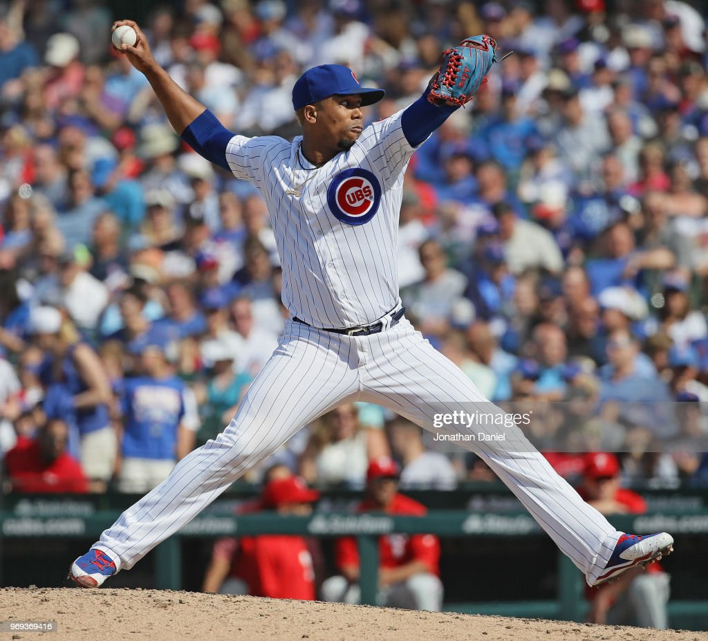 Pedro Strop #46 of the Chicago Cubs pitches a scoreless 8th inning against the Philadelphia Phillies at Wrigley Field on June 7, 2018 in Chicago, Illinois. The Cubs defeated the Phillies 4-3.