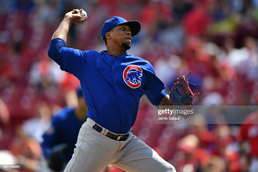 Pedro Strop #46 of the Chicago Cubs pitches against the Cincinnati Reds at Great American Ball Park on May 19, 2018 in Cincinnati, Ohio. (Photo by Jamie Sabau/Getty Images) Pedro Strop