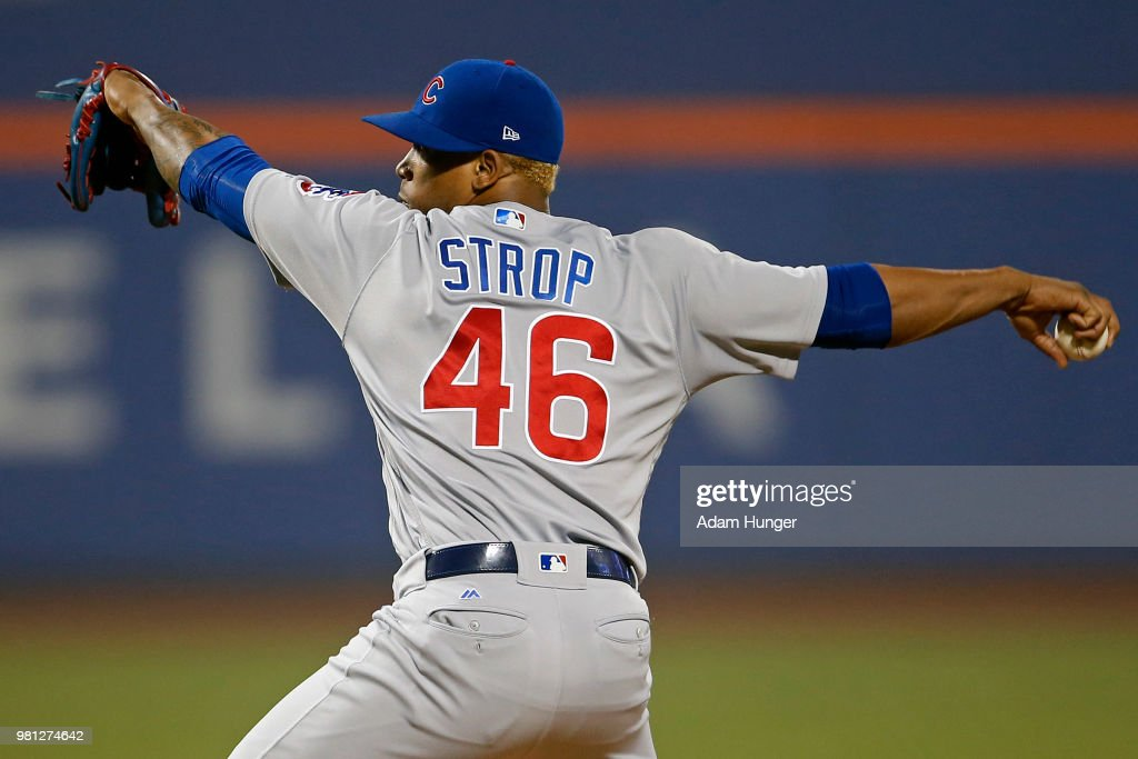Pedro Strop #46 of the Chicago Cubs pitches against the New York Mets during the ninth inning at Citi Field on May 31, 2018 in the Flushing neighborhood of the Queens borough of New York City.