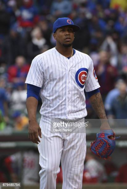 Pedro Strop of the Chicago Cubs pitches against the Philadelphia Phillies on May 4 2017 at Wrigley Field in Chicago Illinois