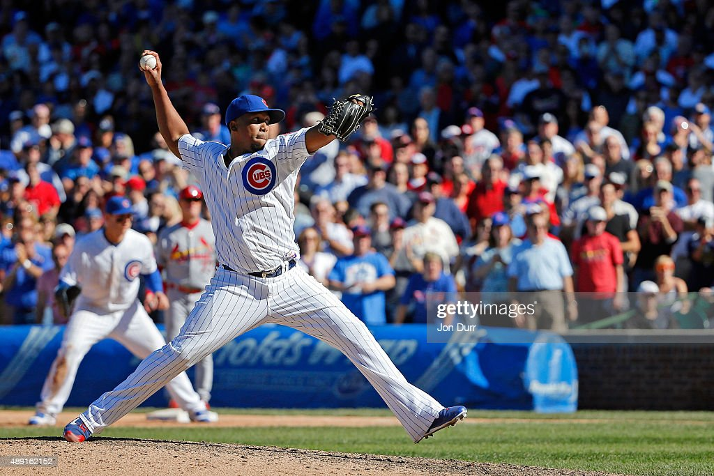 Pedro Strop #46 of the Chicago Cubs pitches against the St. Louis Cardinals during the ninth inning at Wrigley Field on September 19, 2015 in Chicago, Illinois. The Chicago Cubs won 5-4.