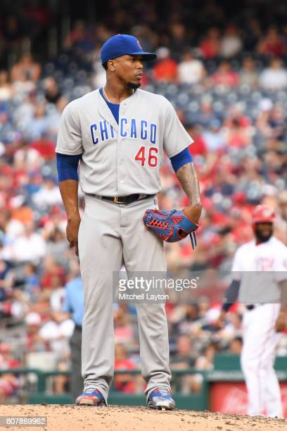 Pedro Strop of the Chicago Cubs pitches during a baseball game against the Washington Nationals at Nationals Park on June 29 2017 in Washington DC...