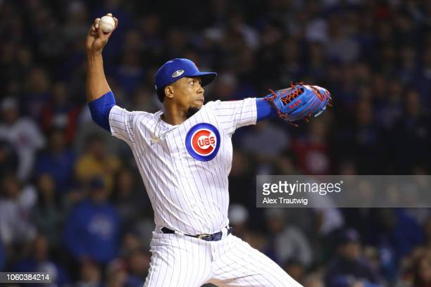 Pedro Strop of the Chicago Cubs pitches during the National League Wild Card game against the Colorado Rockies at Wrigley Field on Tuesday, October...