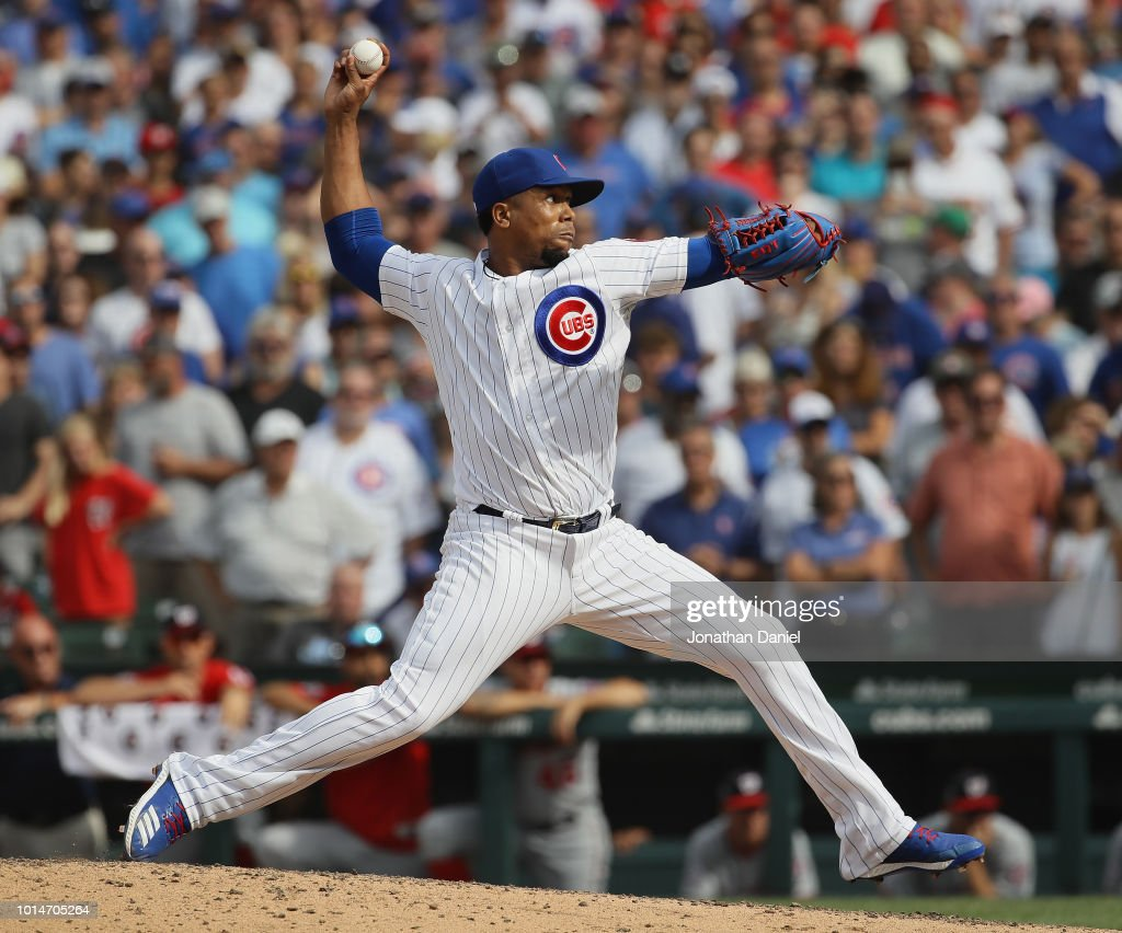Pedro Strop #46 of the Chicago Cubs pitches for a save in the 9th inning against the Washington Nationals at Wrigley Field on August 10, 2018 in Chicago, Illinois. The Cubs defeated the Nationals 3-2.
