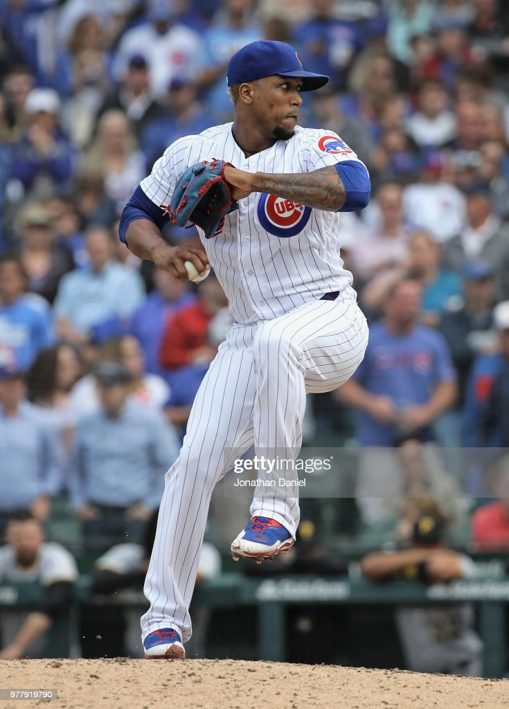 Pedro Strop #46 of the Chicago Cubs pitches for a save in the 9th inning against the Pittsburgh Pirates at Wrigley Field on June 8, 2018 in Chicago, Illinois. The Cubs defeated the Pirates 3-1.