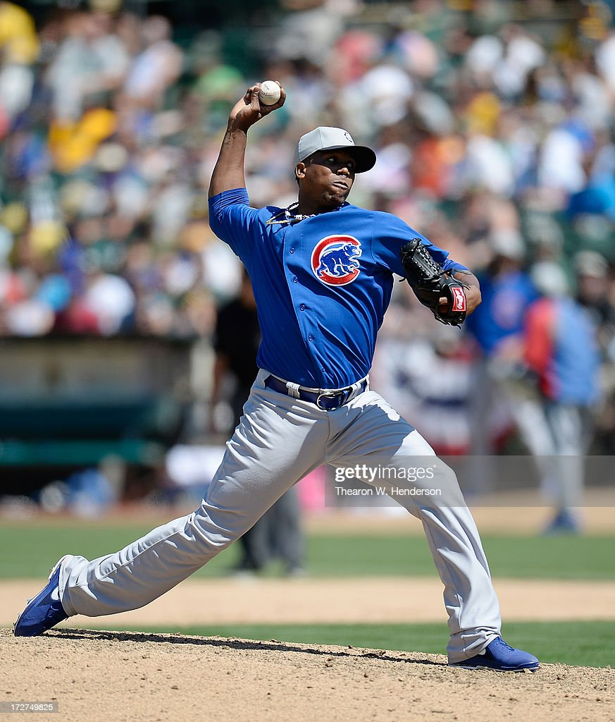 Pedro Strop #46 of the Chicago Cubs pitches in the eighth inning against the Oakland Athletics at O.co Coliseum on July 4, 2013 in Oakland, California.