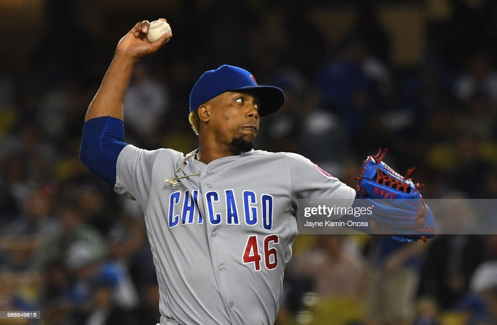 Pedro Strop #46 of the Chicago Cubs pitches in the game against the Los Angeles Dodgers at Dodger Stadium on June 27, 2018 in Los Angeles, California.