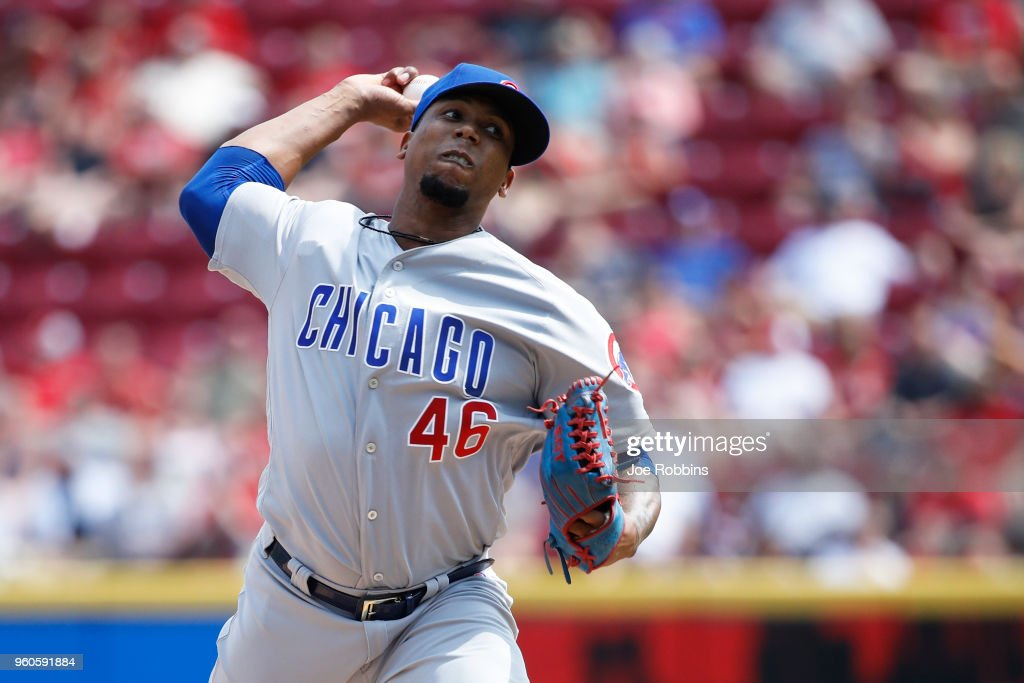 Pedro Strop #46 of the Chicago Cubs pitches in the seventh inning against the Cincinnati Reds at Great American Ball Park on May 20, 2018 in Cincinnati, Ohio. The Cubs won 6-1.