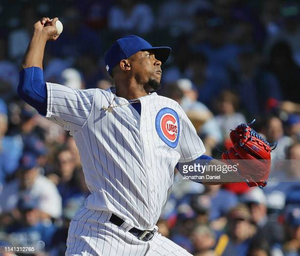 Pedro Strop of the Chicago Cubs pitches the 9th inning against the Pittsburgh Pirates during the home opening game at Wrigley Field on April 08 2019...