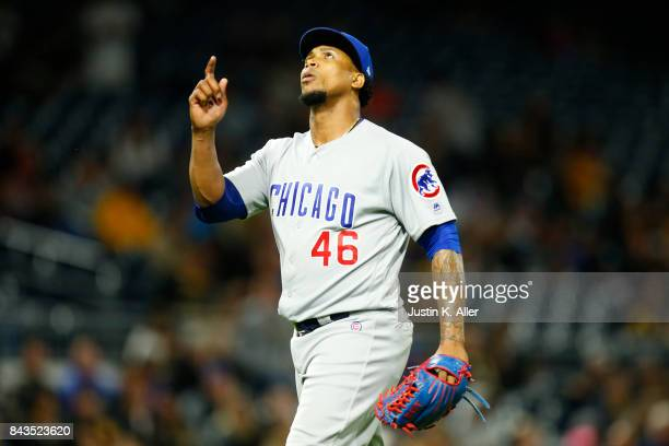 Pedro Strop of the Chicago Cubs reacts after getting out of the eighth inning against the Pittsburgh Pirates at PNC Park on September 6 2017 in...