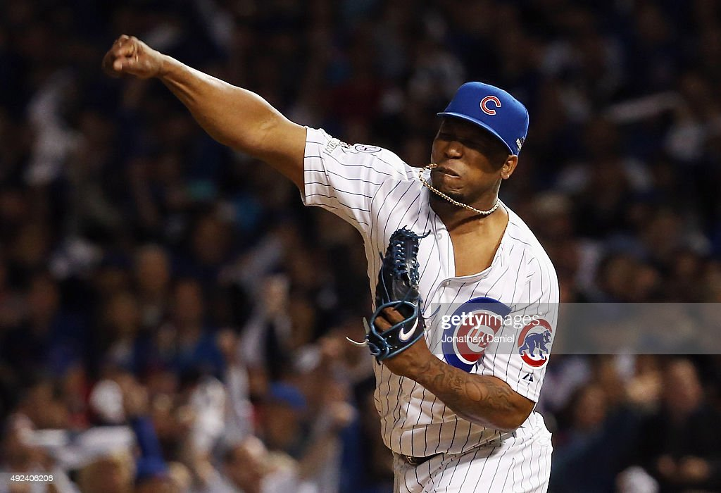 Pedro Strop #46 of the Chicago Cubs reacts in the eighth inning against the St. Louis Cardinals during game three of the National League Division Series at Wrigley Field on October 12, 2015 in Chicago, Illinois.