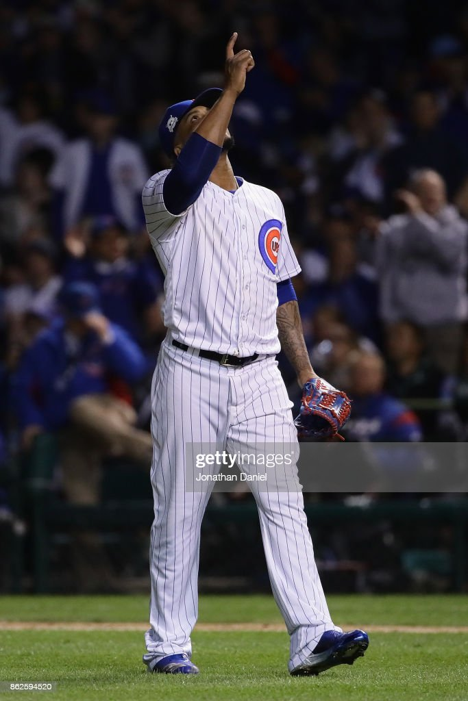Pedro Strop #46 of the Chicago Cubs reacts in the seventh inning against the Los Angeles Dodgers during game three of the National League Championship Series at Wrigley Field on October 17, 2017 in Chicago, Illinois.