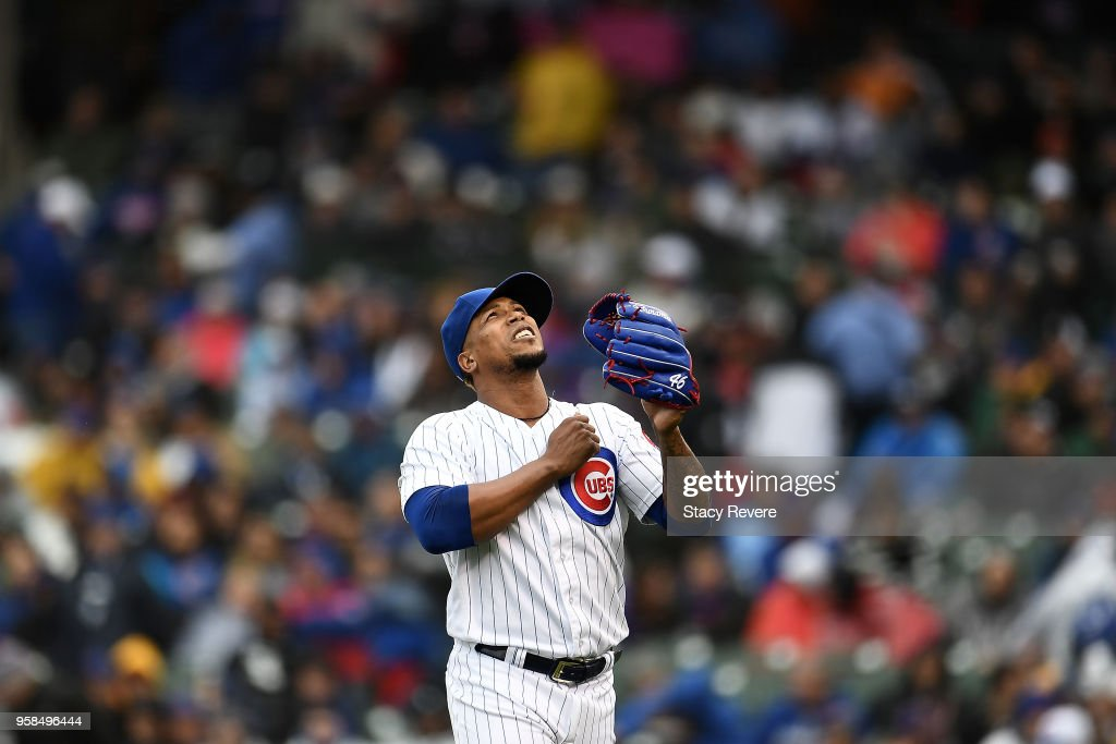 Pedro Strop #46 of the Chicago Cubs reacts to a pitch during a game against the Chicago White Sox at Wrigley Field on May 11, 2018 in Chicago, Illinois. The Cubs defeated the White Sox 11-2.