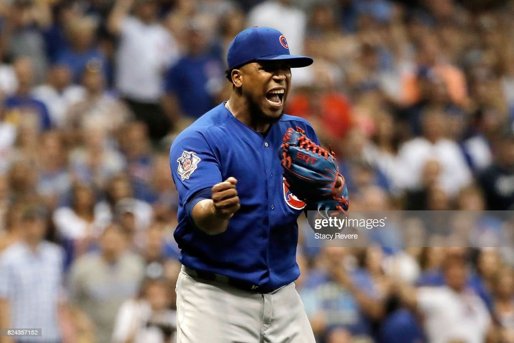 Pedro Strop #46 of the Chicago Cubs reacts to the third out of the eighth inning during a game against the Milwaukee Brewers at Miller Park on July 29, 2017 in Milwaukee, Wisconsin.