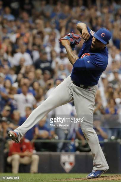 Pedro Strop of the Chicago Cubs reacts to the third out of the eighth inning during a game against the Milwaukee Brewers at Miller Park on July 29...