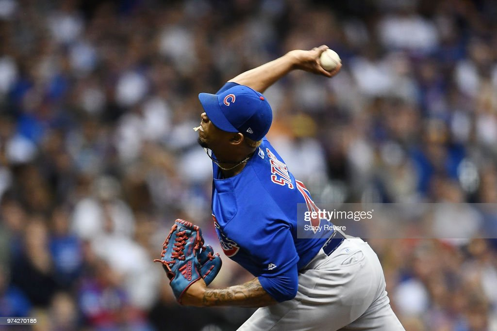 Pedro Strop #46 of the Chicago Cubs throws a pitch during a game against the Milwaukee Brewers at Miller Park on June 11, 2018 in Milwaukee, Wisconsin. The Cubs defeated the Brewers 7-2 in 11 innings.
