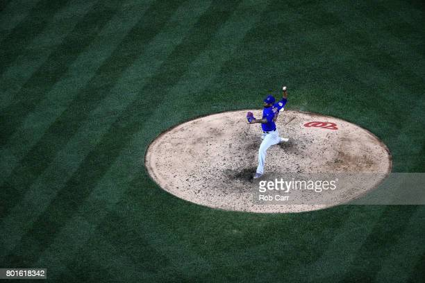 Pedro Strop of the Chicago Cubs throws to a Washington Nationals batter at Nationals Park on June 26 2017 in Washington DC