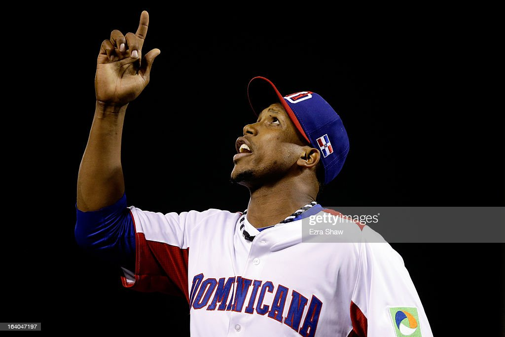 Pedro Strop #46 of the Dominican Republic reacts against the Netherlands during the semifinal of the World Baseball Classic at AT&T Park on March 18, 2013 in San Francisco, California.