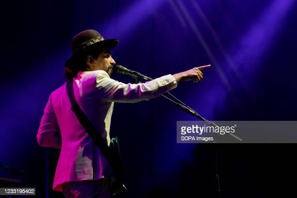 Pedro Taborda 'Tatanka', the vocalist of The Black Mamba band performs at a concert at the Super Bock Arena in Porto.