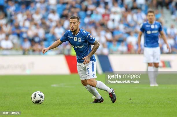 Pedro Tiba of Lech Poznan in action during Lotto Ekstraklasa match between Lech Poznan and Wisla Krakow on August 19 2018 in Poznan Poland