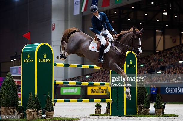 Pedro Veniss of Brazil on Quabri de l'Isle rides for the victory during the Rolex Grand Slam of Show Jumping at Palexpo on December 11 2016 in Geneva...