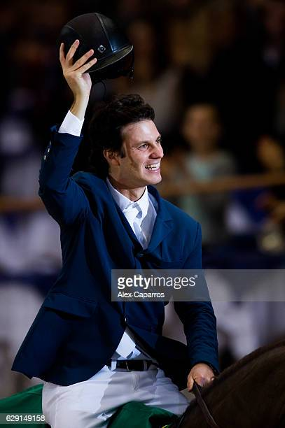 Pedro Veniss of Brazil riding Quabri de l'Isle celebrates his victory after the Rolex Grand Slam of Show Jumping at Palexpo on December 11 2016 in...