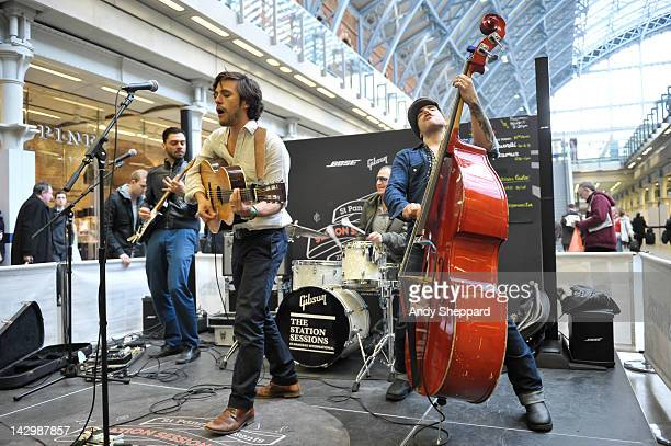 Pedro Vito Jack Savoretti Kristoffer Sonne and Tom Benzon of Jack Savoretti The Dirty Romantics perform for The Station Sessions Festival 2012 at St...