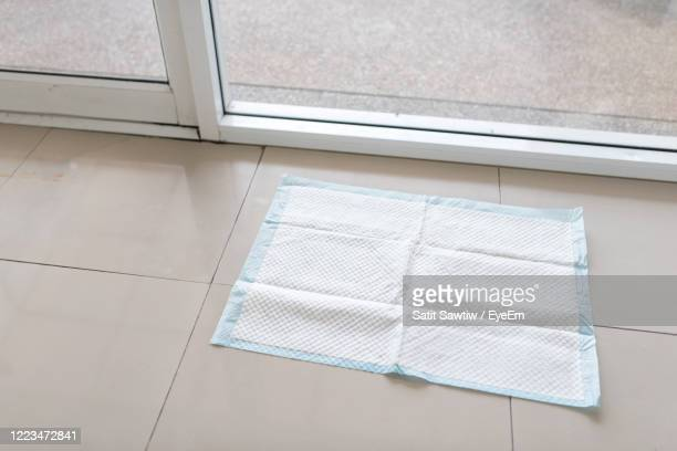 pee pads, dogs in the house - dog pad foto e immagini stock