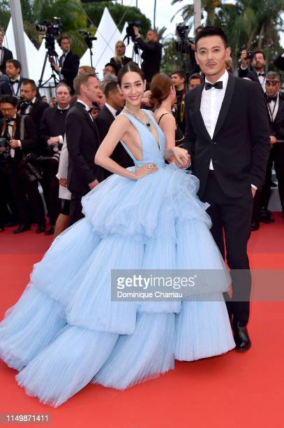 Peechaya Wattanamontree and Eric Miao attend the screening of Pain And Glory during the 72nd annual Cannes Film Festival on May 17 2019 in Cannes...