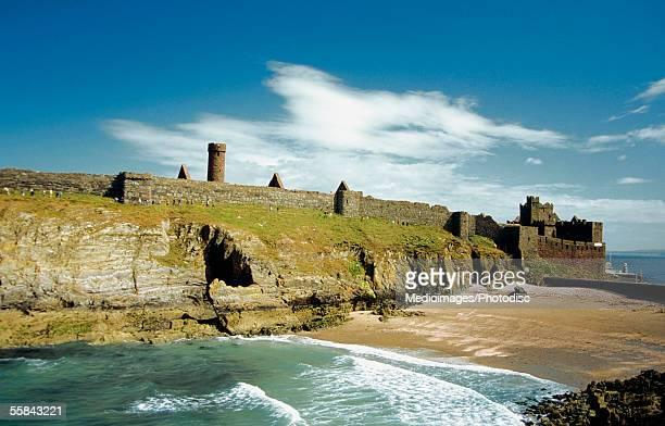 Peel Castle at the coast of a sea, Isle of Man, British Isles